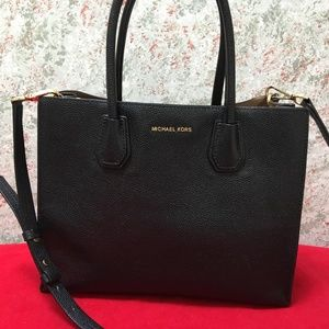 MICHAEL KORS Black Leather MERCER Tote & Strap